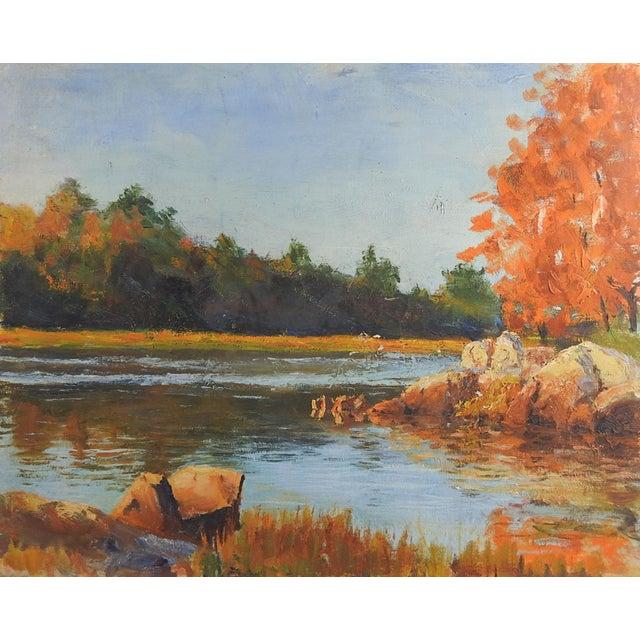 Impressionist Autumn River Landscape Painting For Sale - Image 3 of 3