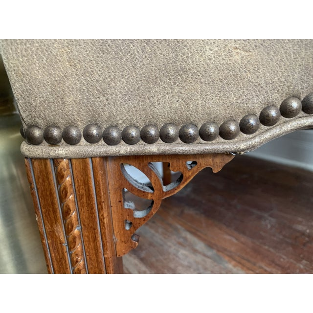 Metal Vintage Chinese Chippendale Style Gray Tan Brushed Leather Arm Chairs- a Pair For Sale - Image 7 of 12