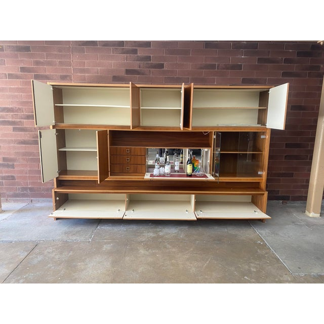 Mid-Century Modern 1970s West Germany MCM Mid Century Modern Wood Wall Unit Bar Cabinet For Sale - Image 3 of 13