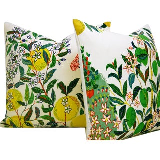 Contemporary Schumacher Citrus Garden in Primary Pillow Covers - a Pair For Sale