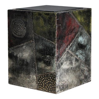 Paul Evans Sculpted Metal and Slate Side Table For Sale