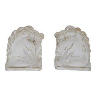 Art Deco Style Glass Horsehead Bookends - a Pair For Sale
