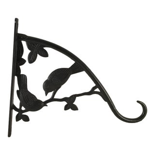 Mid-Century Black Aluminum Bird Hanging Basket Bracket