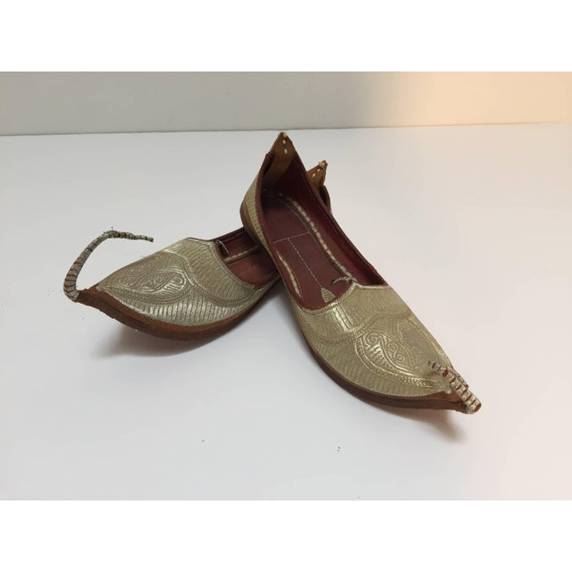 Middle Eastern Arabian Turkish Leather Shoes With Gold Embroidered Curled Toe For Sale - Image 10 of 10