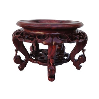 Hand Carved Hua Li Rosewood & Marble Display Stand