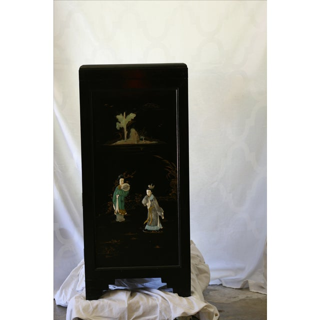 Antique Chinese Black Lacquer Pictorial China Cabinet - Image 7 of 10