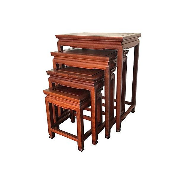 Chinese Chinese Rosewood Asian Nesting Tables - Set of 4 For Sale - Image 3 of 5