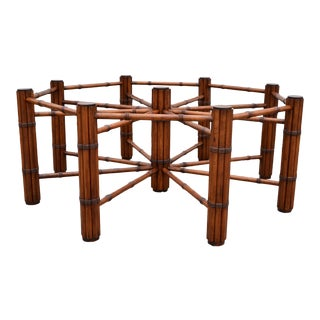 McGuire Style Round Faux Bamboo Wood Mid-Century Modern Dining Table American For Sale