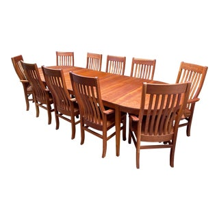 L. Halteman Custom Design Solid Cherry Expansion Dining Table + 10 Arm Chairs For Sale