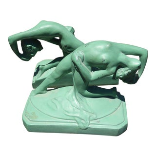 Art Deco Cyan Nude Woman Bookends - A Pair
