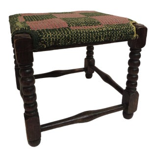 Antique Square Milking Stool with Turned Wood Legs For Sale