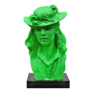 1979 Green Victorian Style Plaster Sculpture Woman Bust in Hat by Austin Prod. For Sale
