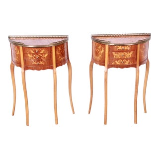 Italian Louis XV Inlaid Marquetry Mahogany Brass Gallery Demilune Nightstands, Circa 1930s For Sale