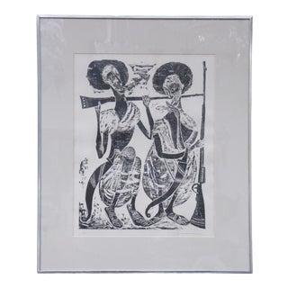 Signed Woodblock Print of Shotelai Swordsmen For Sale