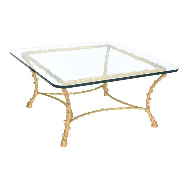 French Modern Gilt Bronze Low Table, Attributed to Maison Baguès For Sale