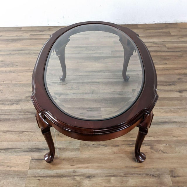 Wood Vintage Ethan Allen Georgian Court Oval Glass Top Coffee Table For Sale - Image 7 of 8