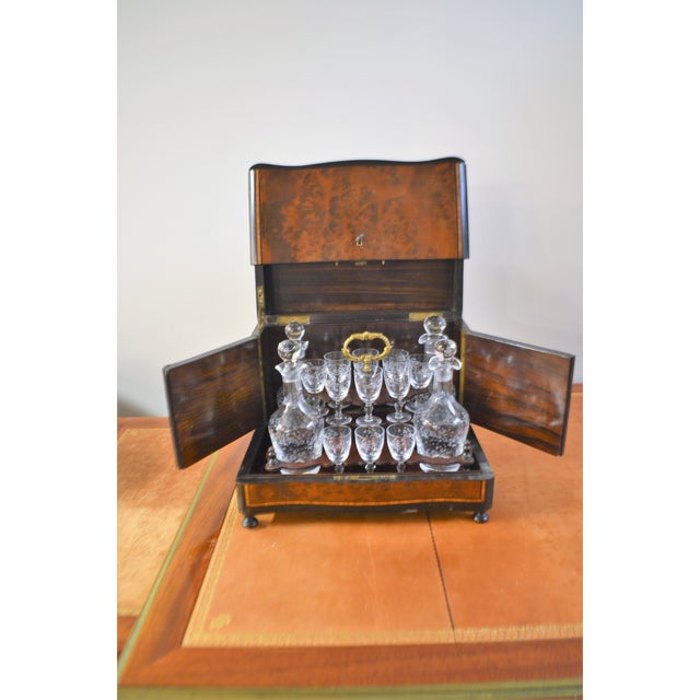 Traditional 19th Century Portable Bar With the Origianal Etched Crystals Decanters and 14 Sherry Glasses Sitting in a Rosewood Box. For Sale - Image 3 of 11