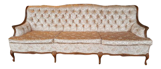 Vintage French Hollywood Regency Style Blush Pink Brocade Sofa