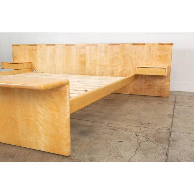 Maple Platform California King Bed With Floating Nightstands by Gerald McCabe For Sale In Los Angeles - Image 6 of 13