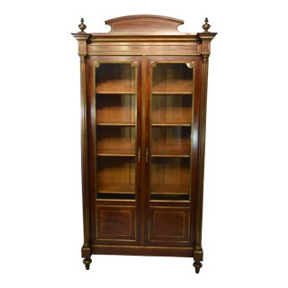 19th-Century French Napolean III Mahogany Bookcase With Brass Accents & Inlays For Sale