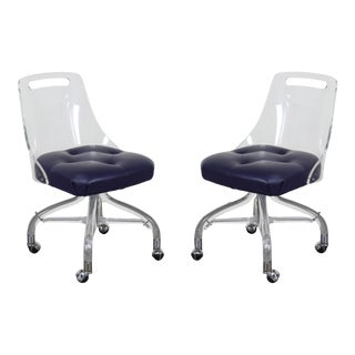Vintage Bent Back Lucite Chairs on Caster - a Pair For Sale