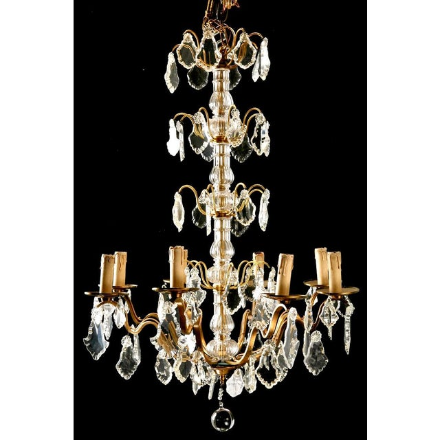 French Eight Light Brass, Glass & Crystal Chandelier, C.1920 - Image 3 of 9