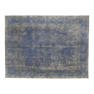 Modern Style Overdyed Distressed Vintage Turkish Rug With Industrial Design For Sale