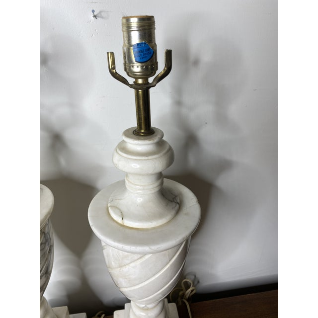 Antique Early 20th Century Neoclassical Marble Lamps - a Pair For Sale In Washington DC - Image 6 of 9