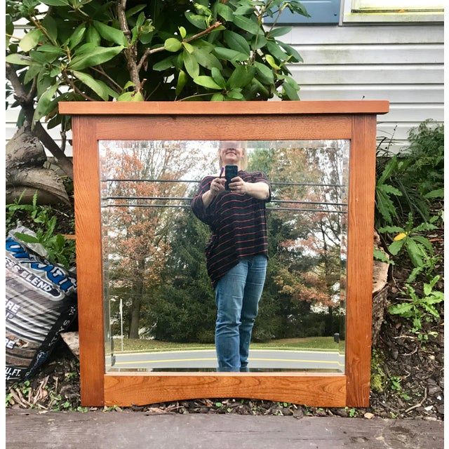 Mid-Century Beveled Mirror in Sturdy Frame For Sale In Baltimore - Image 6 of 7