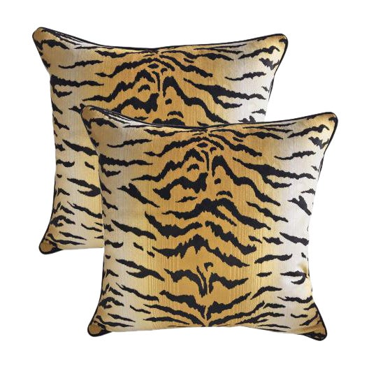 Sutherland Velvet Tiger Accent Pillows - A Pair - Image 1 of 3