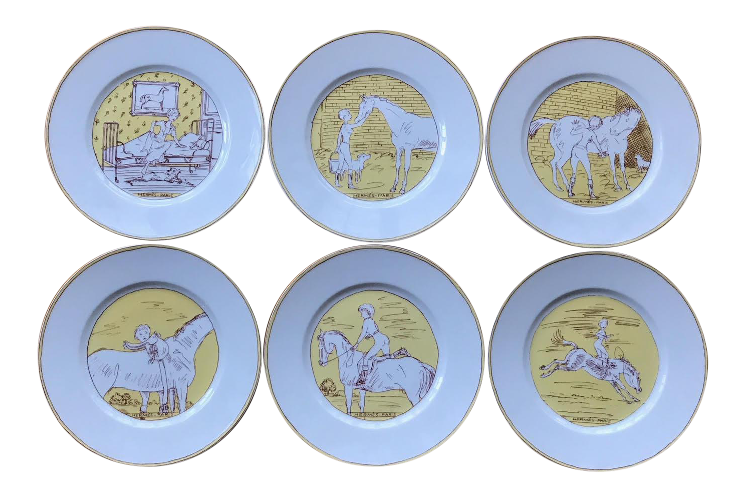 Vintage Hermès 6-Piece Dinner Plate Set  sc 1 st  Chairish : used dinnerware sets - pezcame.com