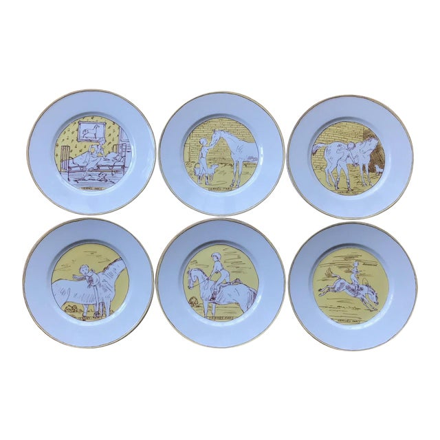 Vintage Hermès 6-Piece Dinner Plate Set For Sale