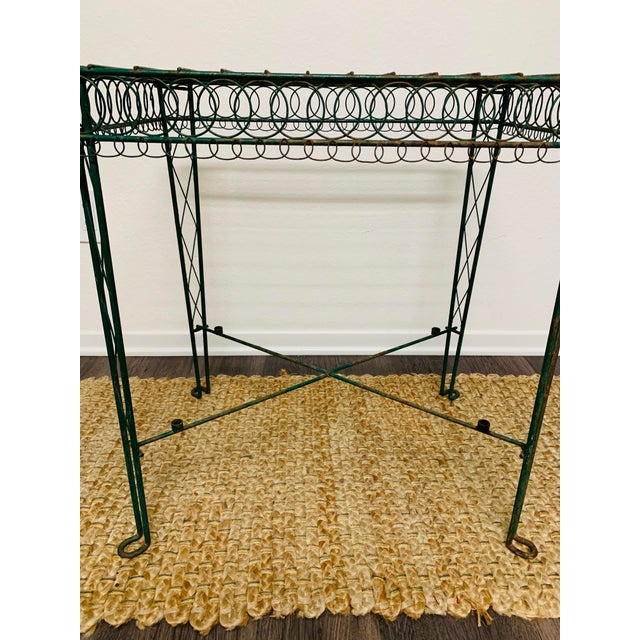 Metal Victorian Iron Scroll Garden Patio Table With Tray Plant Stand Bar Cart For Sale - Image 7 of 13