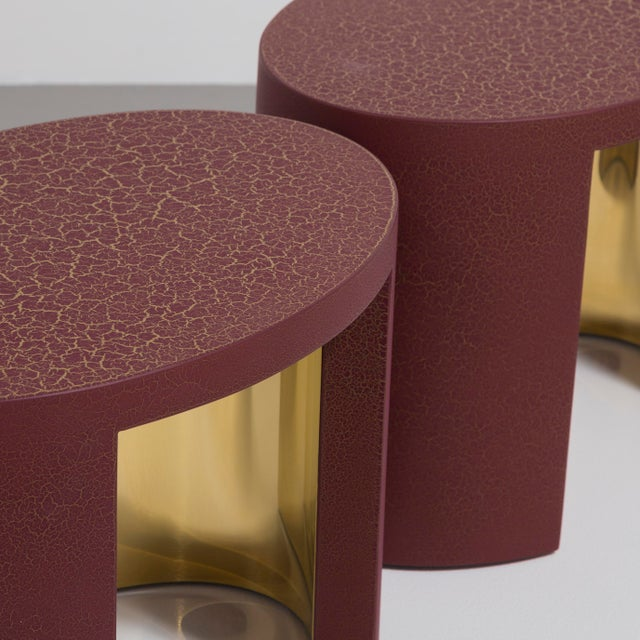 The Oval Crackle Side Tables by Talisman Bespoke (Burgundy and Gold) For Sale - Image 6 of 8