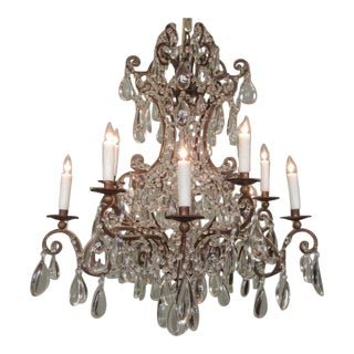 Early 19th Century Italian Gilt Tole and Polished Crystal Pendant Chandeliers