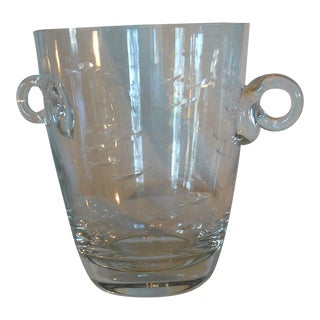 Late 20th Century Krosno Ice Bucket With Etched Birds and Scrolled Handles For Sale