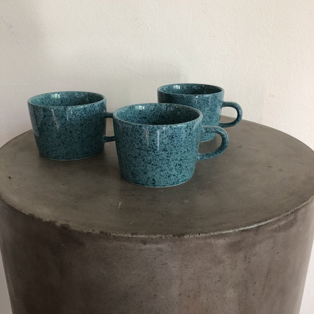 Mid-Century Modern Vintage Japanese Turquoise Ceramic Teacups - Set of 3 For Sale - Image 3 of 10