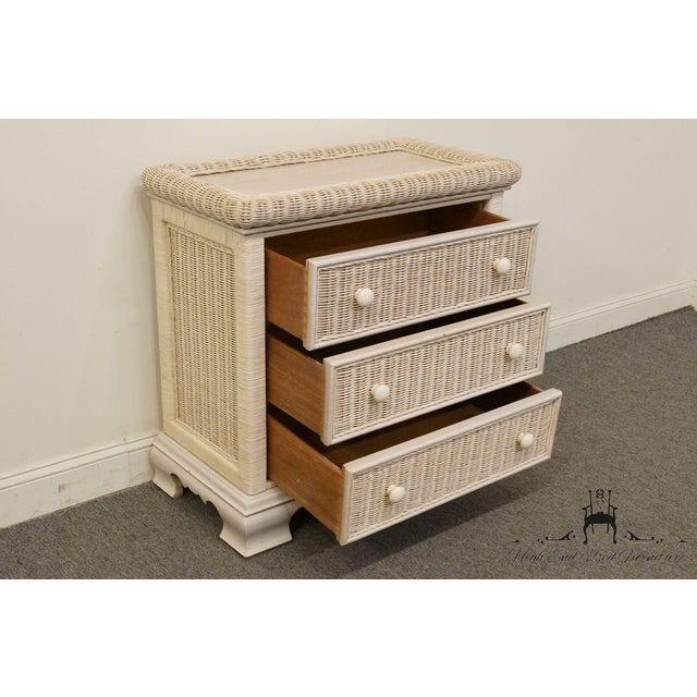 Wicker 20th Century Country Pennsylvania House White Wicker Nightstand For Sale - Image 7 of 13