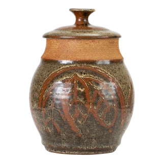 California Modern Studio Pottery Jar With Leaf Pattern by Don Jennings For Sale