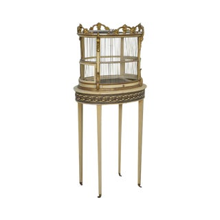 Rococo Style Vintage Painted & Partial Gilt Wood Birdcage on Stand