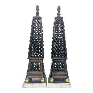Multi Metal Obelisk Sculptures, a Pair For Sale