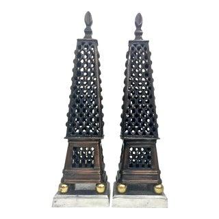 Multi Metal Obelisk Sculptures, a Pair For Sale