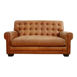 Vintage Brown Leather Love Seat Sofa