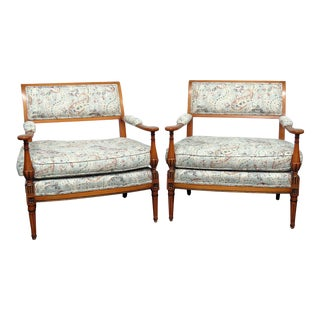 Louis XVI Style Marquis Armchairs - A Pair For Sale