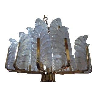 Large Carl Fagerlund for Orrefors Brass and Glass Chandelier For Sale