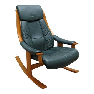 Modern Ekornes Scandinavian Style Rocking Leather Chair For Sale