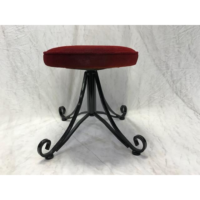 1960s 1960s Vintage Wrought Iron Swivel Stool For Sale - Image 5 of 8