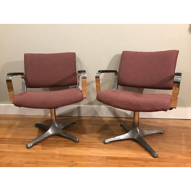 Mid-Century Modern Chrome Eames Style Chairs - A Pair For Sale - Image 3 of 9