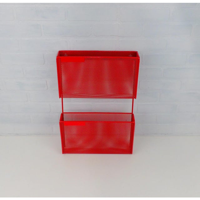 Metal Vintage Red Metal Wall Mounted Organizer Mail Sorter Letter Holder For Sale - Image 7 of 9