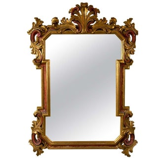 Gilt Gold and Paint Decorated Mirror For Sale